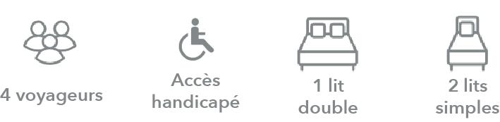 gites arles icônes : 4 voyageurs / accès handicapé / 1 lit double / 2 lits simples